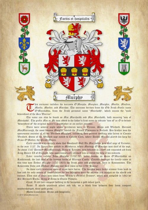 Surname History with Coat of Arms (Family Crest) on ...