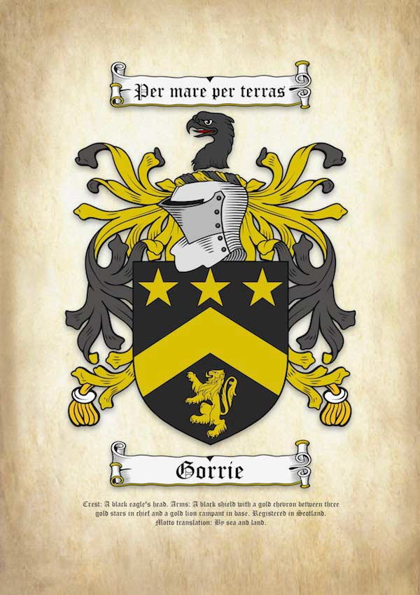 Surname Coat of Arms (Family Crest) on A4 Ancient Parchment Paper