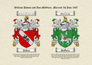 Double Surname Coats of Arms (Family Crests) on A3 Parchment Paper