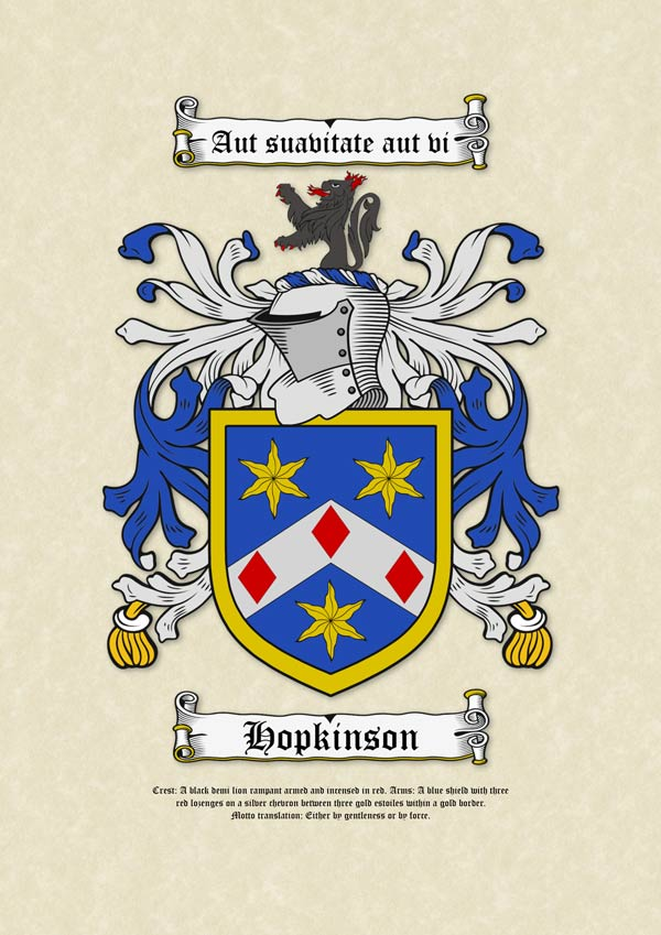 Surname Coat of Arms (Family Crest) on A3 Parchment Paper