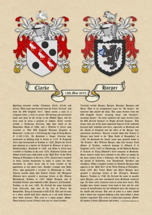 Double Coats of Arms (Family Crests) Surname Histories A3 Antiqua Parchment