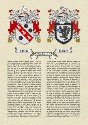 Double Coats of Arms (Family Crests) Surname Histories A3 Vellum Parchment