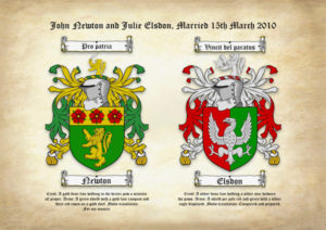 Double Surname Coats of Arms (Family Crests) on Ancient Parchment