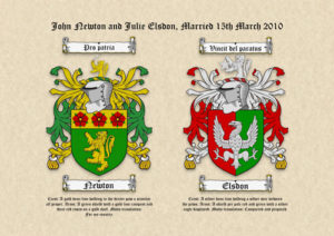 Double Surname (Family Crests) Coats of Arms on Parchment Paper
