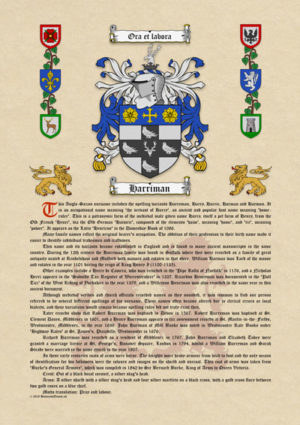 Surname History with Coat of Arms (Family Crest) on A3 Antiqua Parchment