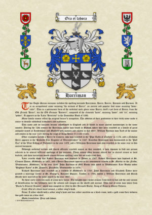 Surname History with Coat of Arms (Family Crest) on A3 Vellum Parchment